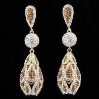 China Alloy-plated 14K Drop Earrings with Crystal and Smoked Topaz on sale