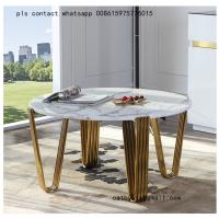 China European style creative stainless steel coffee table modern tempered glass table on sale