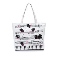 Buy cheap Womens Cartoon Printed Canvas Tote Bags , Custom Cloth Shopping Bags product