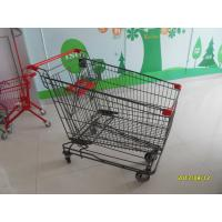 China 210L Asian Wire Shopping Cart With Wheels And Grey Powder SGS CE wholesale