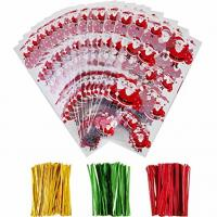 Buy cheap OPP Christmas Cellophane Treat Bags/ Candy Cookie Packaging Bags with Twist Ties product