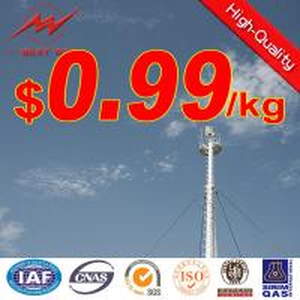 Galvanized monopole antenna communication tower