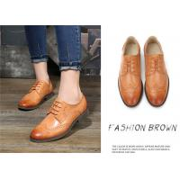 Buy cheap Plain Color Full Brogue Shoes , Derby Style Womens Leather Wingtip Oxfords product