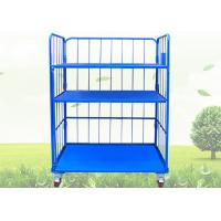 Buy cheap Blue Warehouse Cages On Wheels / Stackable Storage Cages With Shelves product