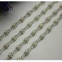 Buy cheap Excellent luxury design white pearl decorative 10 mm width nickel color chain for bag handle product