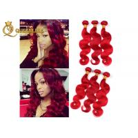Buy cheap Highlighted Red 16 Inch Peruvian Human Hair Extensions For Beauty Works product