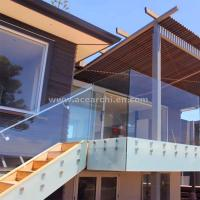 Buy cheap Frosted Glass Privacy Screens / Frameless Glass Railing with Standoffs product
