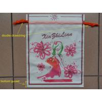 Buy cheap Small Recyclable White Plastic Drawstring Bags with Flower Printed product
