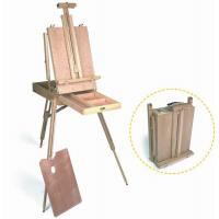 Buy cheap Wooden Painting Easel Art Stand , French Sketch Box Easel With Palette Belt Aluminium Tray product