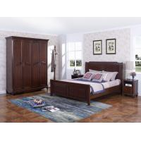 Buy cheap Rubber Wood Furniture Thailand solid wood King/Queen Bed in Leisure American style with Nightstand and Wardrobe product