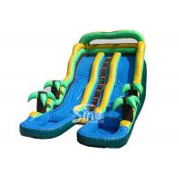 China 25' high commercial kids tropical palm trees inflatable water slide with pool made of best material for outdoor water fu on sale