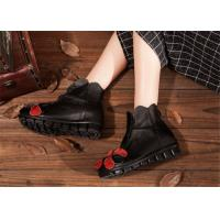 Buy cheap low heel fashion womens ankle boots with flower , black leather ankle boots product