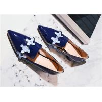 Quality Patent Leather Comfortable Trendy Shoes Pointed Toe Mid Heels With Colourful Flowers for sale