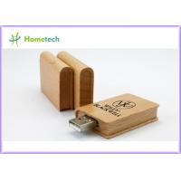 China Security 4GB , 8GB , 32GB Book Wooden USB Flash Drives with High Data Transfer on sale