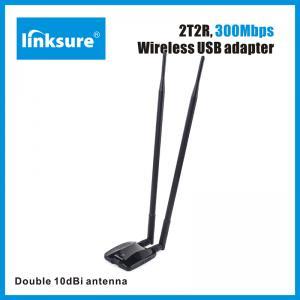 China Dual antenna omni 10dbi x2 300Mbps high power wifi usb adapter,high power high gain  wifi receiver on sale