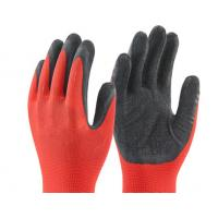 Buy cheap 13 gauge nylon coated black latex gloves on palm safety glvoes Crinkle surface product
