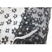 China White Black Small Flowers Mesh Lace Fabric Elastic Polyester Nylon Tulle Plain Style on sale