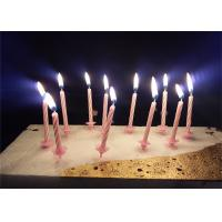 Buy cheap Candy Stripes Spiral Birthday Candles Pink Paraffin Wax With 20 pcs Holders product