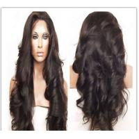 China Natural Black Curly Human Hair Wigs / Unprocessed Virgin 100% Cambodian Full Lace Wig on sale