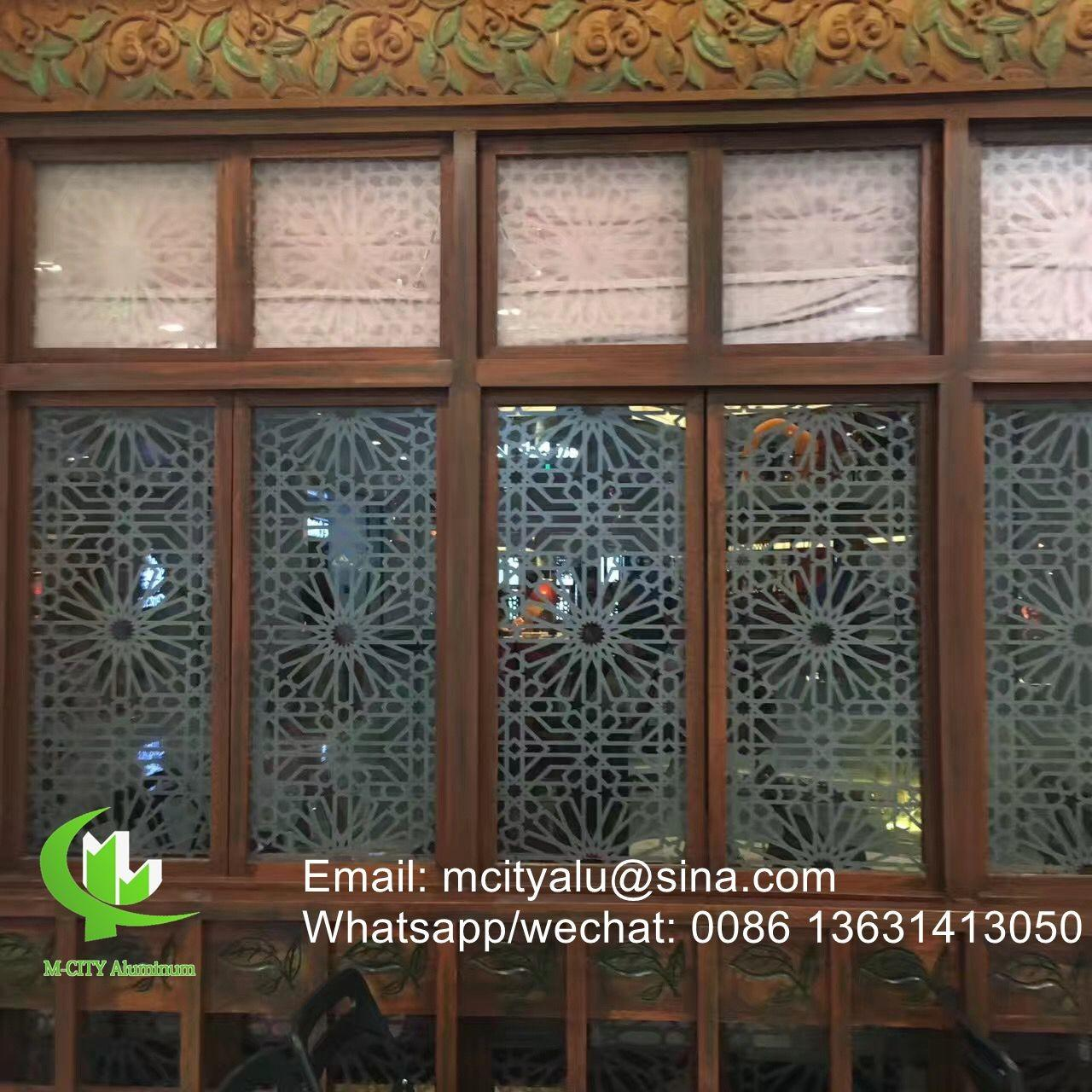 China Aluminum perforated sheet for window screen room divider fence with 2mm thickness laser cut screen on sale
