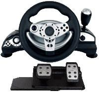Universal Wired Video Game Steering Wheel Compatible Vista32 / Vista64 for sale
