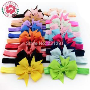 China Girl Hair Bow Headband DIY Grosgrain Ribbon Bow Elastic Hair Bands For Newborn Infant Todd on sale