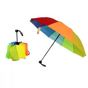 China Wind resistant Fiberglass structure Manual 3 Folding Umbrella on sale