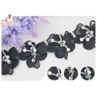 China Black 3D Flower Embroidered Lace Trim With Beaded Azo Free Dyeing Pass OEKO TEX on sale