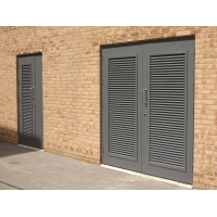 Buy cheap Ultra Silver Aluminium Louver Doors Tempered Glass Anodized Finish product