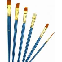 Quality Wooden Handle Golden Synthetic Paint Brush Sets , Interlocked Fine Bristle Paint for sale