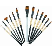 Quality Brown Round Tip Paint Brush , Acrylic Paint Brushes For Beginners Brass Ferrule for sale
