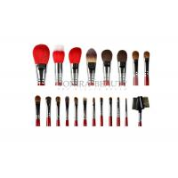 China Gorgeous Ultra Soft Makeup Brushes 20Pcs Goat Sable Pony Hair Brushes With Glossy Red Handle wholesale