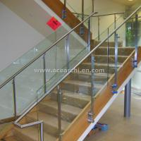 Buy cheap Double Stringer Straight Staircase with Post Glass Railing and Satin s.s and Wood Tread product