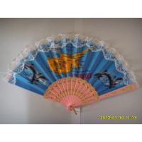 China 23cm lace hand fan with plastic ribs and lace fabric,  can print logo or design on fabric on sale