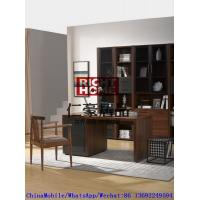 Buy cheap 2016 New Nordic Design Study room Furniture by Walnut wood Office Desk with Armchair and in Wall Bookcase Cabinet product