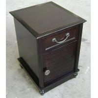 China HPL Top Dark Wood Nightstand With Drawers , Narrow Bedside Table Night Stand on sale