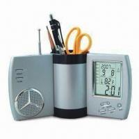 Buy cheap Rotary Multifunctional Pen Holder with Clock Radio product