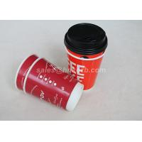 Buy cheap Red Double Wall To Go Custom Disposable Coffee Cups With Black Lid product