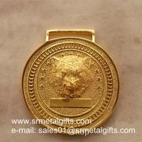 China Relief metal medal with raised wolf head, personalized embossed metal medals, wholesale