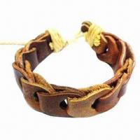 Buy cheap Leather bracelet, non-toxic, customized colors and logos are accepted product