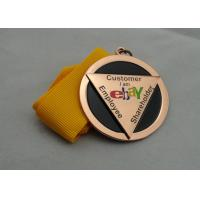 China Die Casting Ribbon Medals with Imitation Hard Enamel, Copper Plating And Gold Plating, 2 Levels on sale