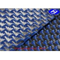 Jacquard Fishtail 3K Carbon Aramid Fabric 1500D Blue Carbon Aramid Hybrid Fabric