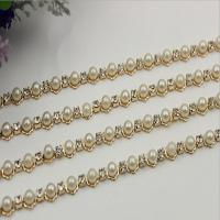 Buy cheap Perfect customized high quality 10 mm width light gold white pearl decorative metal chain for bag strap product