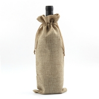 Quality Cotton Pure Color Blank Drawstring Portable Wine Bottle Sleeve for sale
