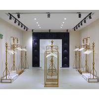Buy cheap Women Clothing Store Shelves / Retail Clothing Display Systems Golden Color product