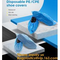 Buy cheap Safety Products Equipment Indoor Disposable medical plastic shoe covers waterproof PE CPE material,PE material blue shoe product