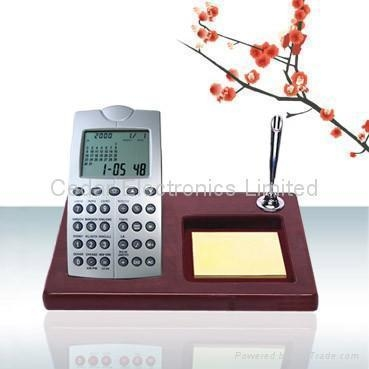China World Time Calendar Calculator with Wooden Base