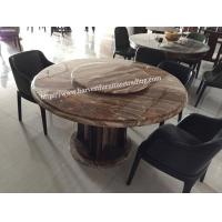 China 6 Seater Marble Granite Round Dining Table With Lazy Susan on sale
