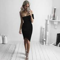 The SKARLY - Off the Shoulder Strapless Elastic Evening Party Dress - Various Colours