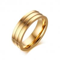 Women fashion 18k gold tone stainless steel band ring